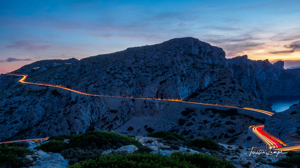View from Cap Formentor inlands after sunset