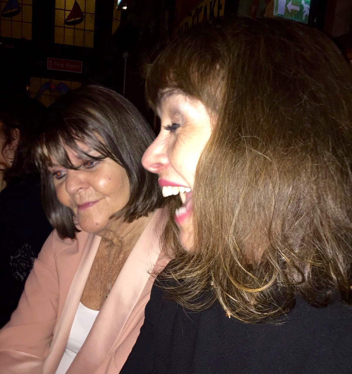 Celine and me catching up at O'Connor's Pub listening to great the music of De Derga.