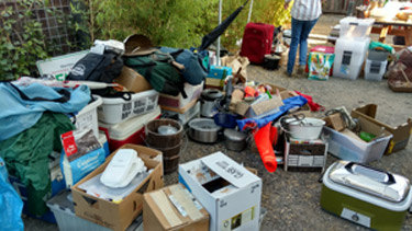 Sorting our possessions.