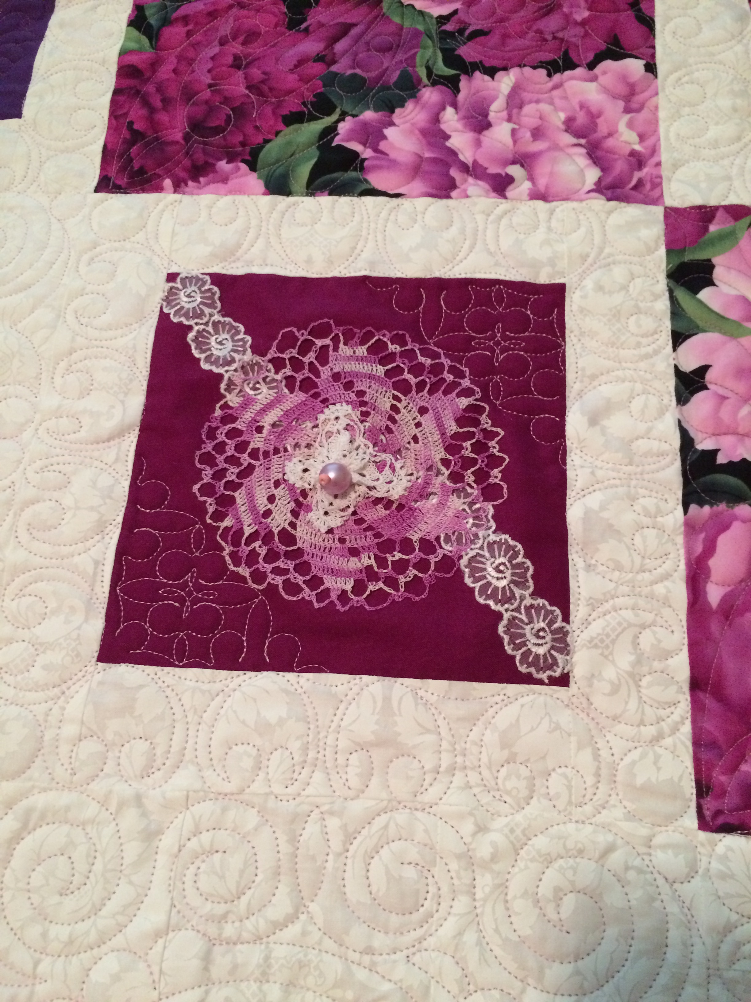 Custom Quilted with the tatting and crocheting already on. -