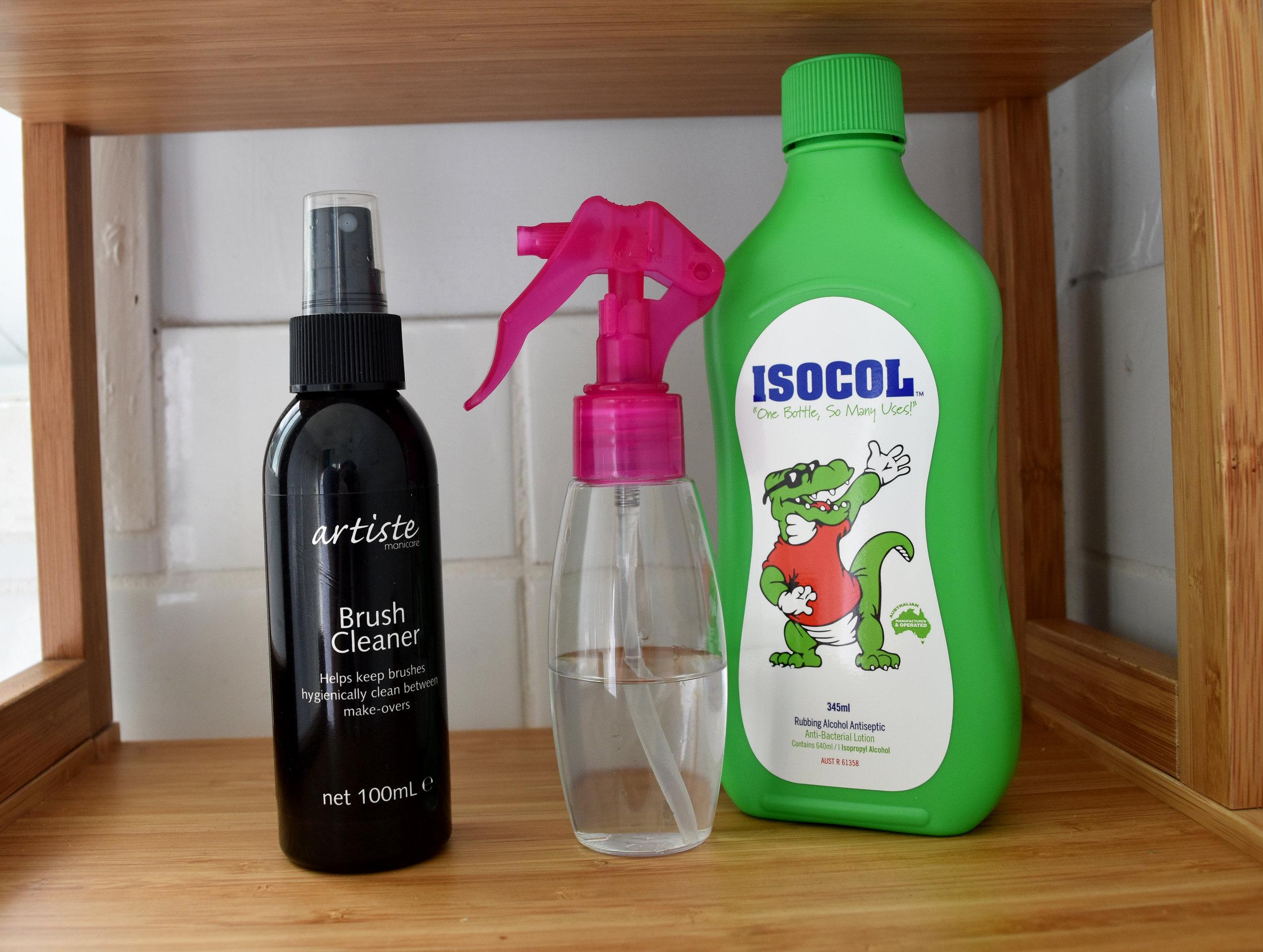 Artiste by Manicare Brush Cleaner ($15.99 per 100 ml) vs Isocol Antiseptic Rubbing Alcohol ($2.90 per 100 ml)