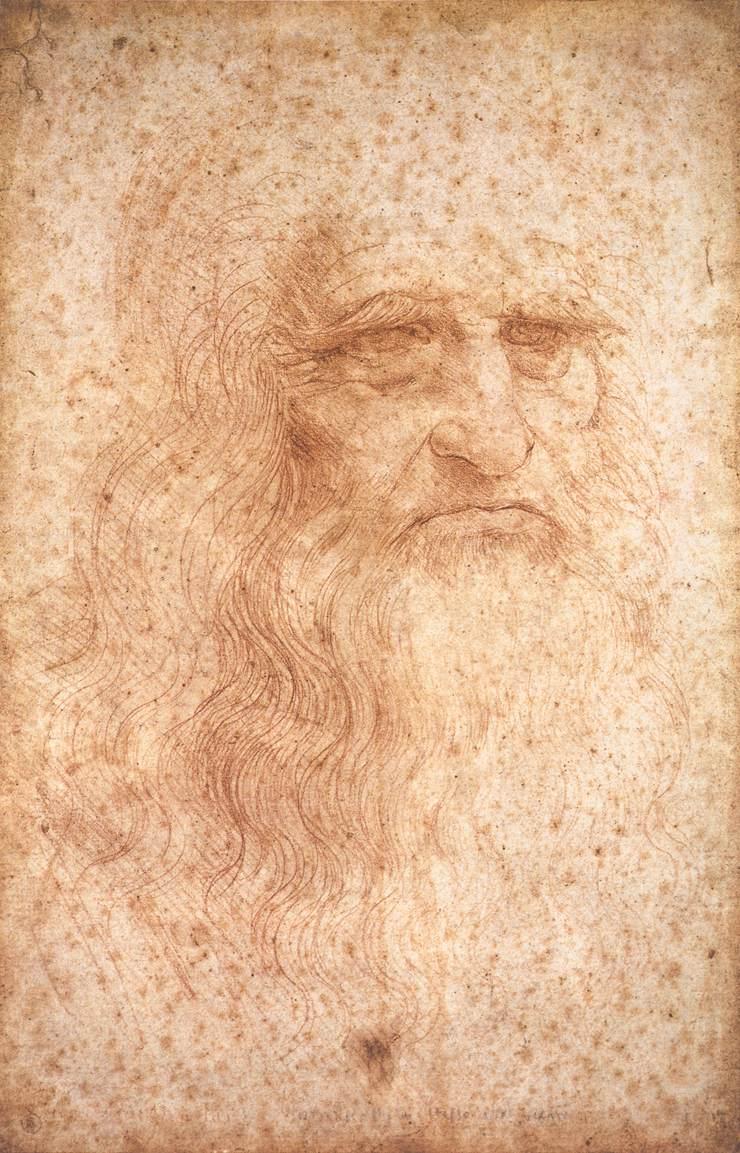 Leonardo da Vinci, Presumed Self-Portrait, c. 1512, red chalk on paper, 333 x 213 mm, Biblioteca Reale, Turin.