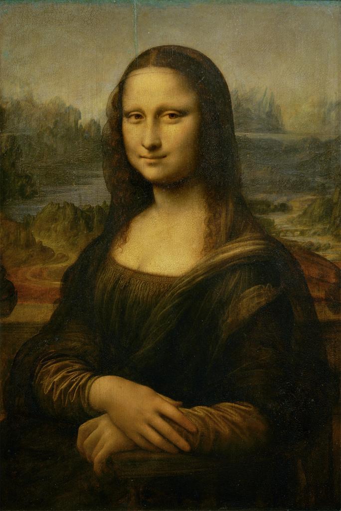 Leonardo da Vinci,  Mona Lisa (or La Joconde, La Gioconda) . Begun c. 1503/1504, oil on poplar wood, 76.8 × 53 cm (30.2 × 20.9 in). Musee du Louvre.