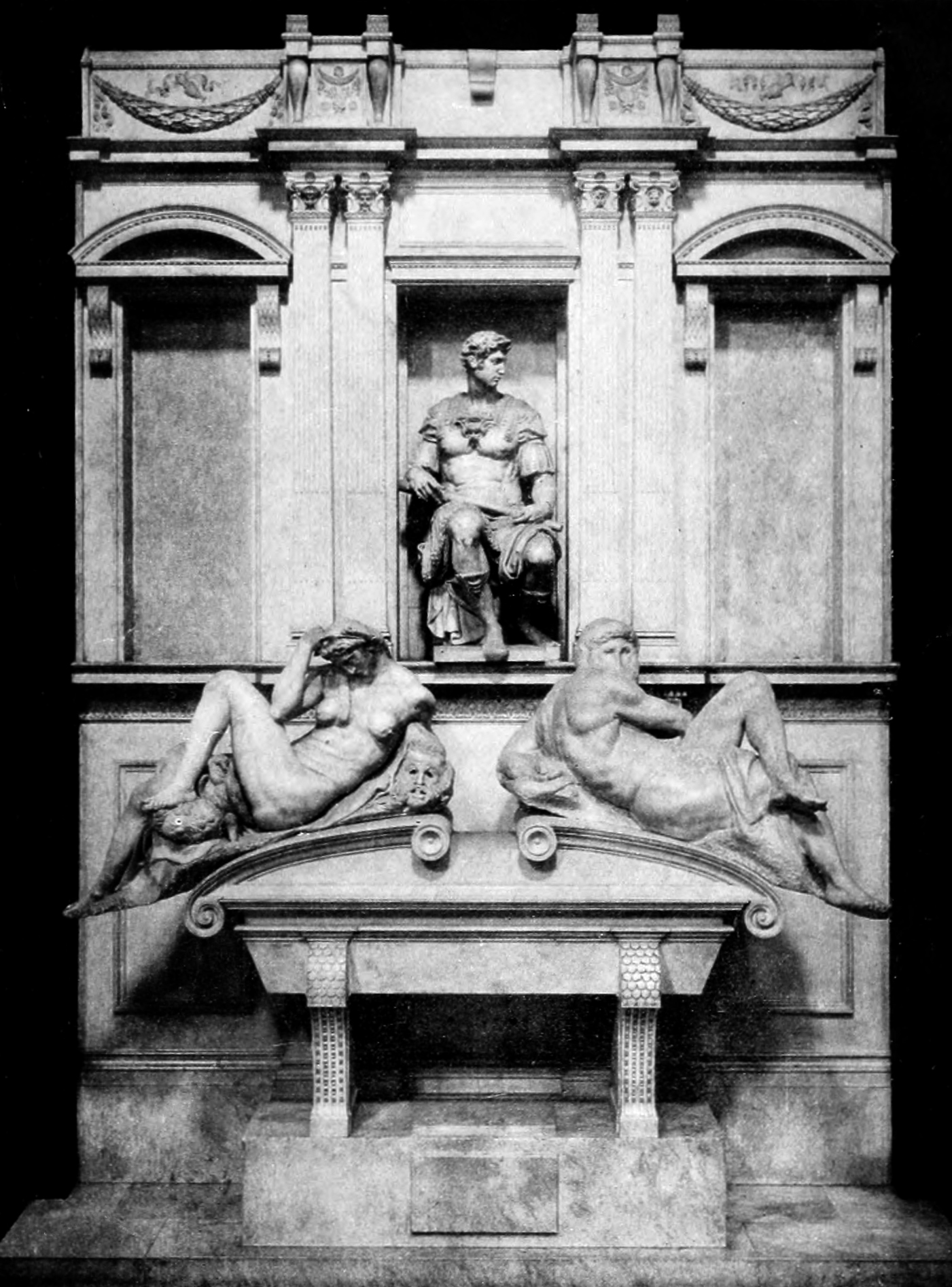 Michelangelo, Tomb of Giuliano di Lorenzo de' Medici with Night and Day, 1533, Florence, Italy