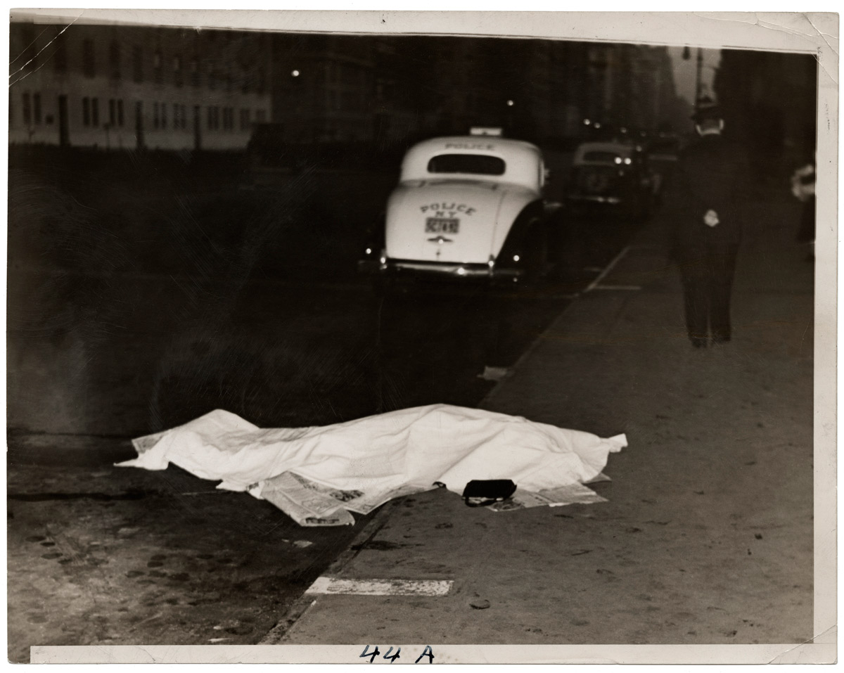 Copy of Weegee (Arthur Fellig), Girl jumped out of car, and was killed, on Park Ave., circa 1938