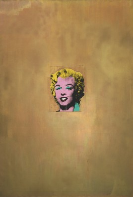 """Gold Marilyn Monroe  Andy Warhol (American, 1928–1987)  1962. Silkscreen ink on synthetic polymer paint on canvas, 6' 11 1/4"""" x 57"""", Museum of Modern Art, New York"""
