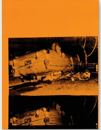 Andy Warhol,  5 Deaths, 1963,  stamped 'Andy Warhol' (on the overlap),  silkscreen ink and acrylic on canvas  44 x 33 in.