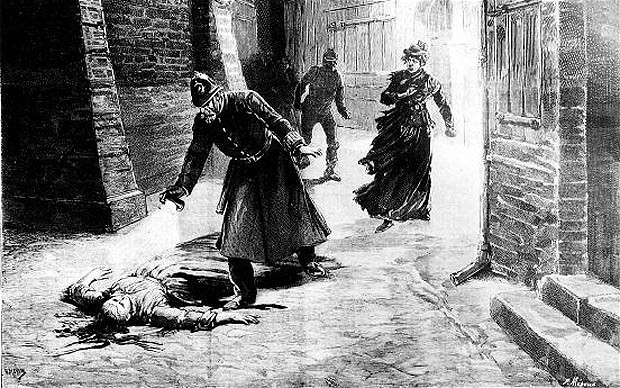 Woodcut illustration of the discovery of one of Jack the Ripper's victims (circa 1888).