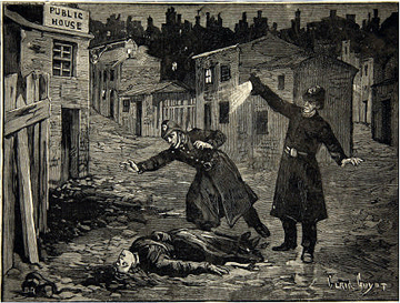 Illustration shows the police discovering the body of one of Jack the Ripper's victims, probably Catherine Eddowes, London, England, late September 1888.
