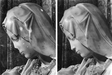 Michelangelo's Pieta-- before and after Laszlo Toth's attack