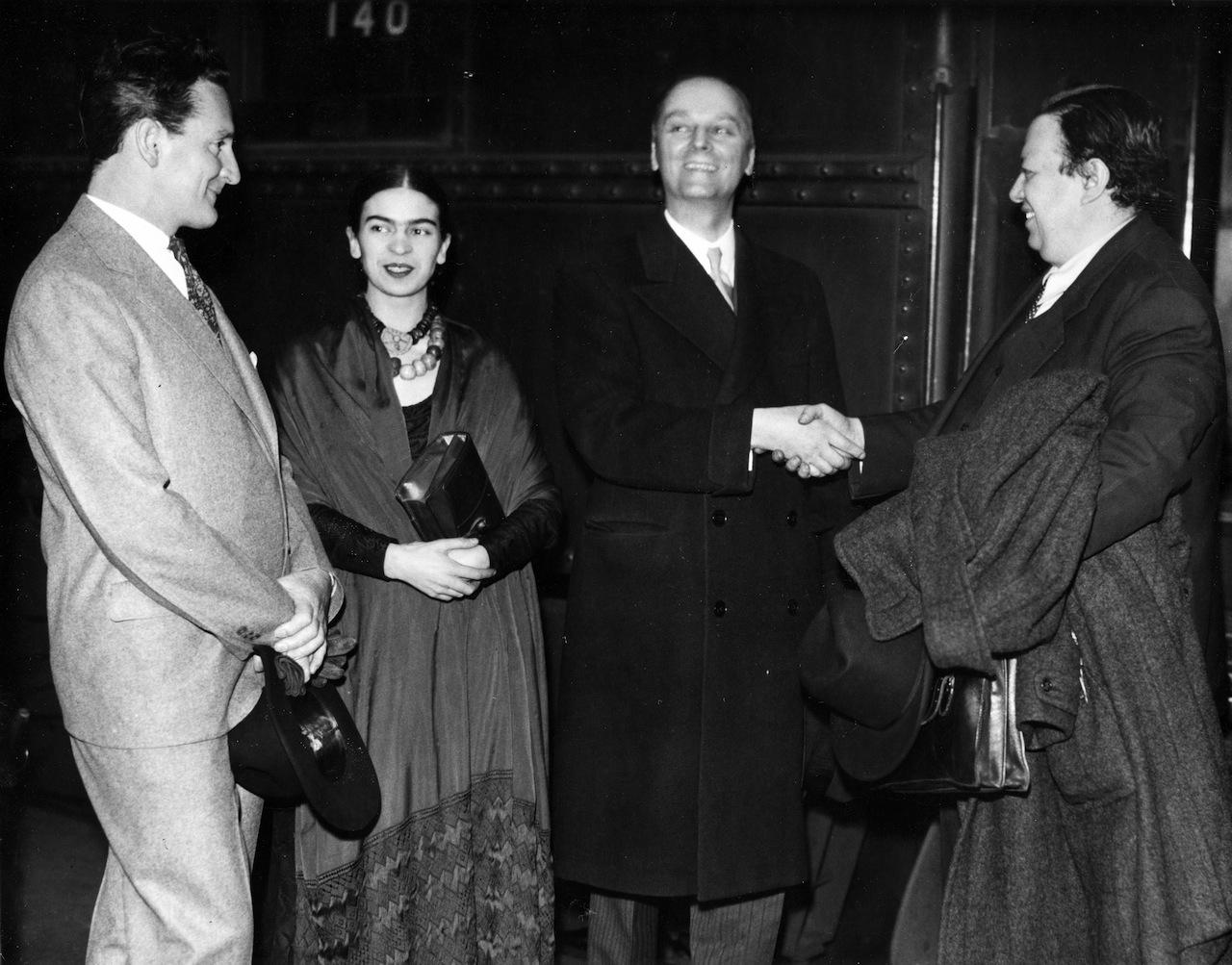 Clifford Wight, Frida Kahlo, Wilhelm Valentiner, and Diego Rivera, Detroit, ca. 1932