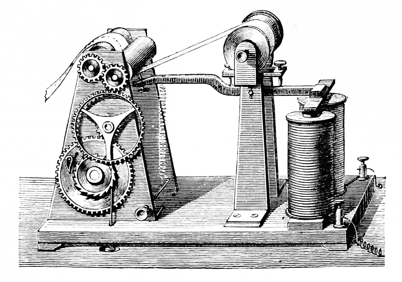 1800s print depicting the telegraph