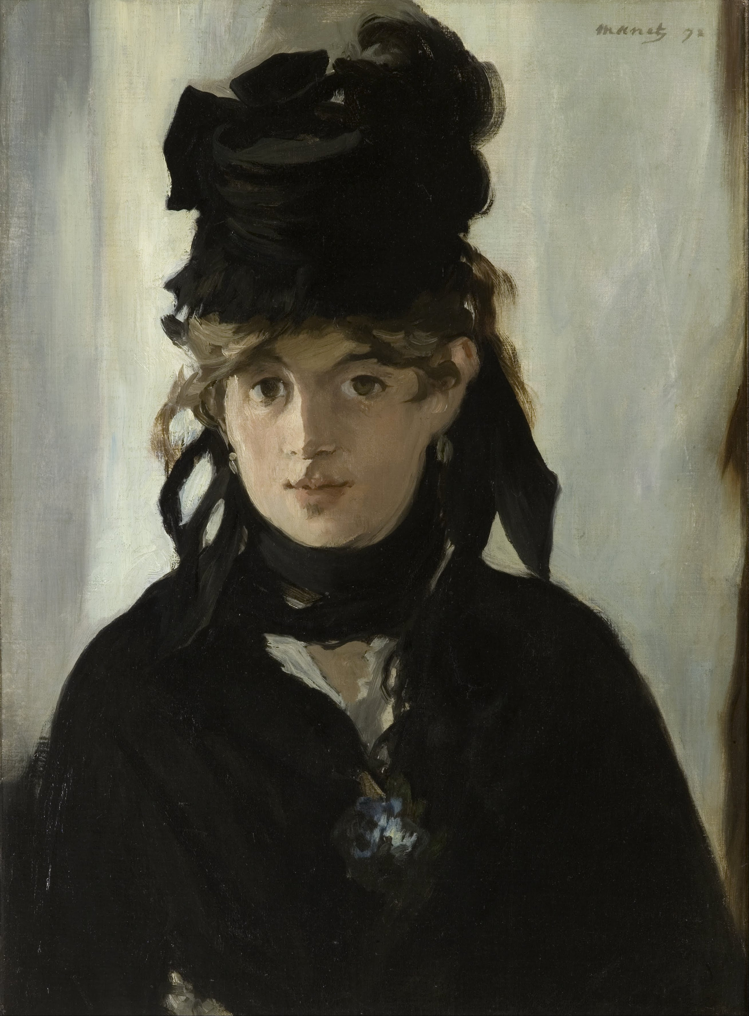 Édouard Manet, Berthe Morisot with a Bouquet of Violets (in mourning for her father), 1872