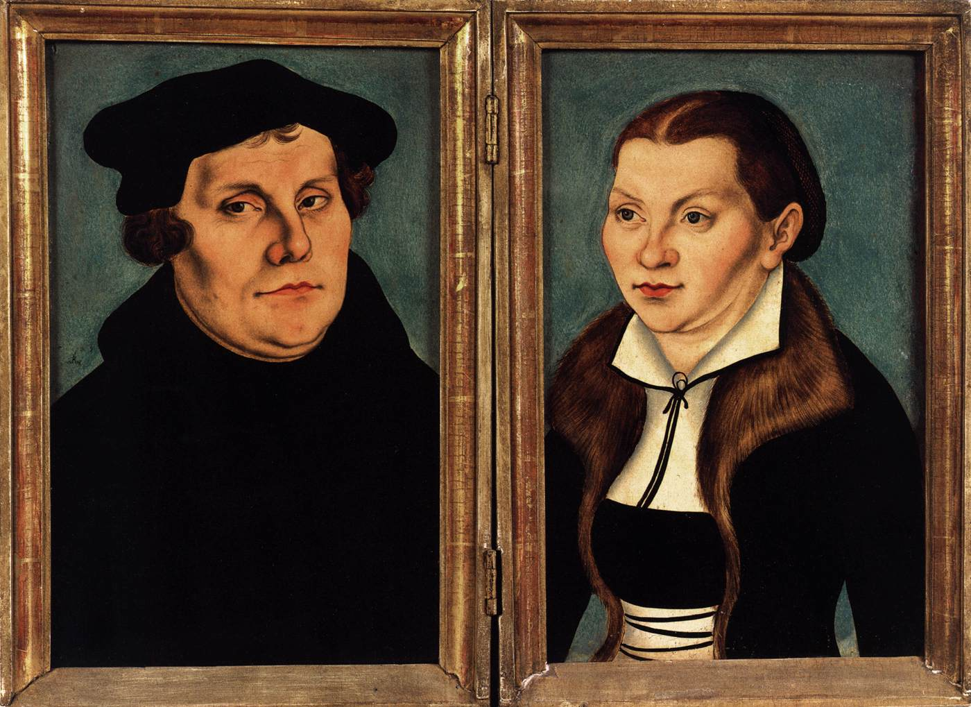Lucas Cranach the Elder (workshop), Diptych with the Portraits of Luther and his Wife, 1529