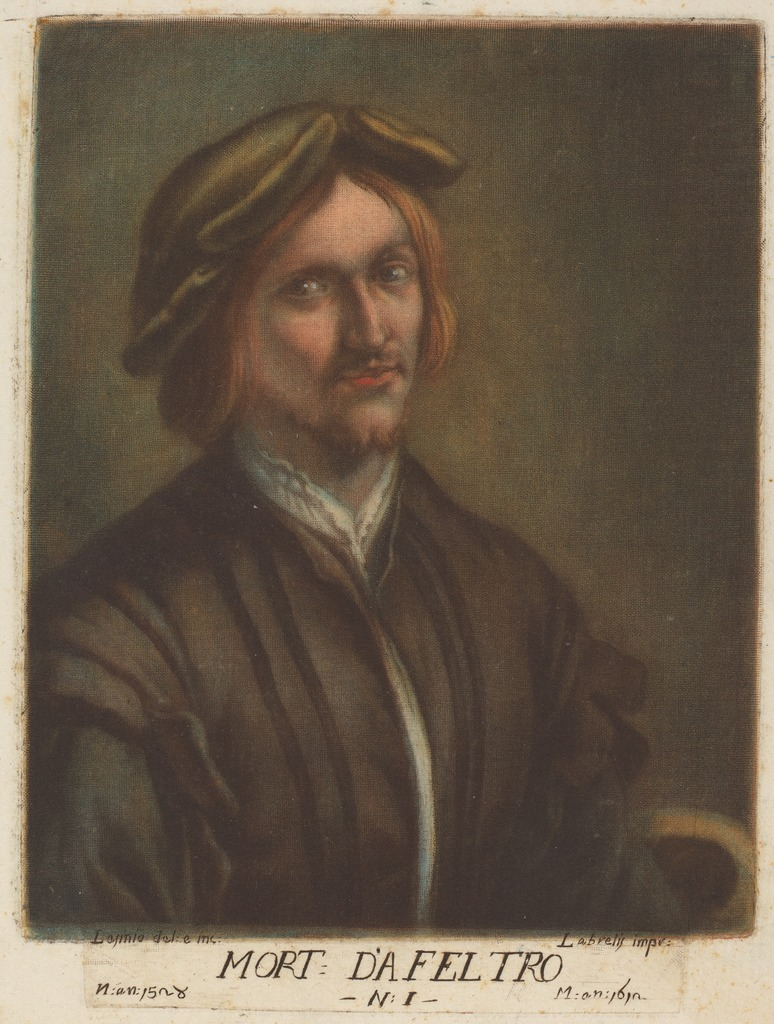 Carlo Lasino, after Lorenzo Luzzo, Portrait of Morto da Feltre, color mezzotint, ca. 1789