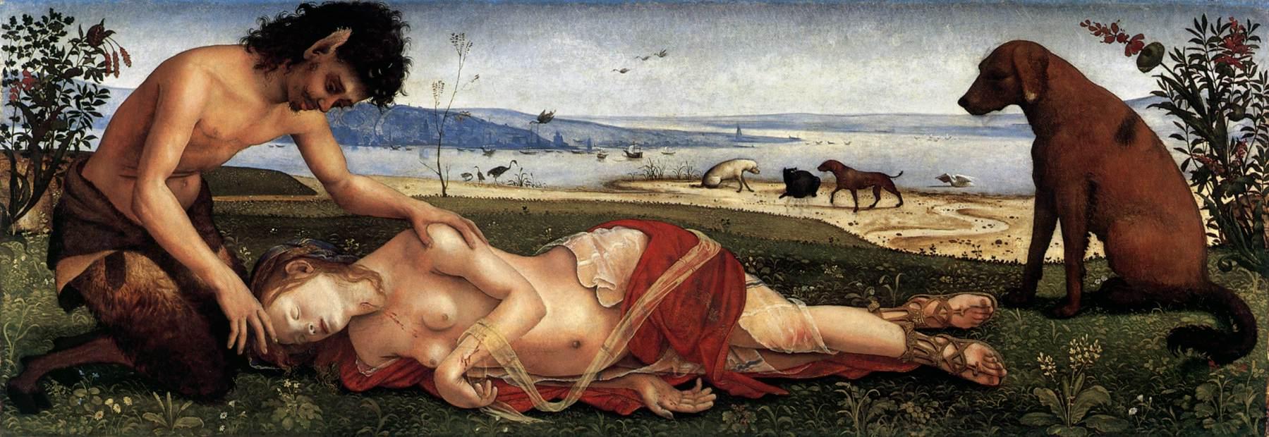 Piero di Cosimo, The Death of Procris  c. 1500 Oil on panel, 65 x 183 cm