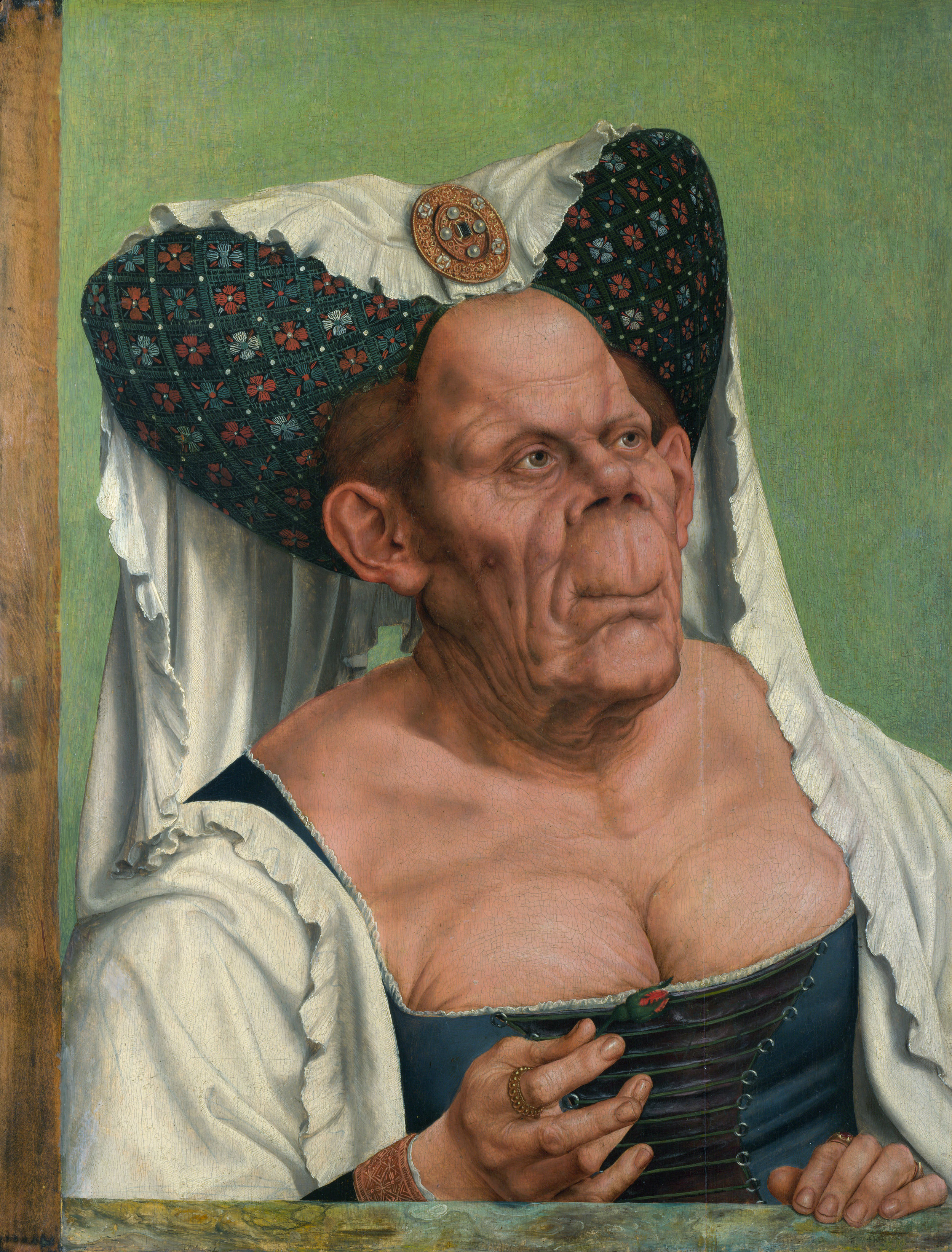 Quentin Massys, The Ugly Duchess (c. 1513), Oil on wood, 64.2 × 45.5 cm. National Gallery, London