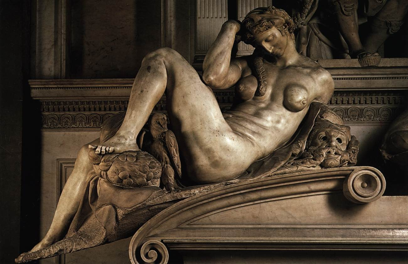 Detail of Night, Michelangelo, Tomb of Giuliano di Lorenzo de' Medici with Night and Day, 1533, Florence, Italy
