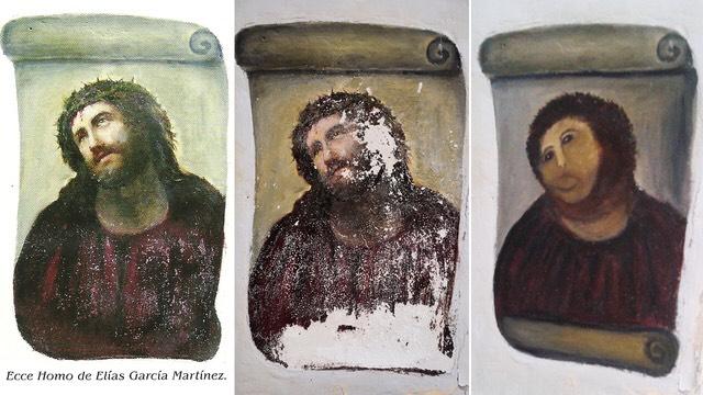 "Elias Garcia Martinez, Ecce Homo comparison-- original, before restoration, and after ""restoration"""