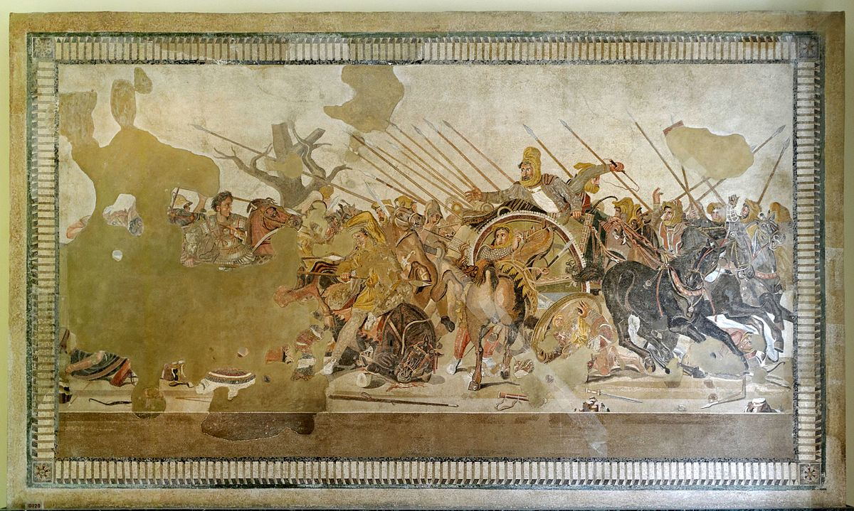 The Alexander Mosaic, by Philoxenus of Eretria (presumed),  101 BCE,  272 cm × 513 cm (8 ft 11 in × 16 ft 9 in), National Archaeological Museum, Naples (since 1843), House of the Faun, Pompeii