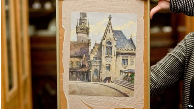 Adolf Hitler, Munich City Hall, 1914, watercolor on paper.
