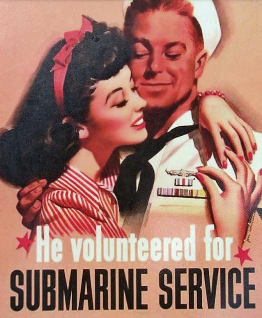 "American Propaganda Poster, John Whitcomb,  ""He Volunteered for Submarine Service"", 1944"