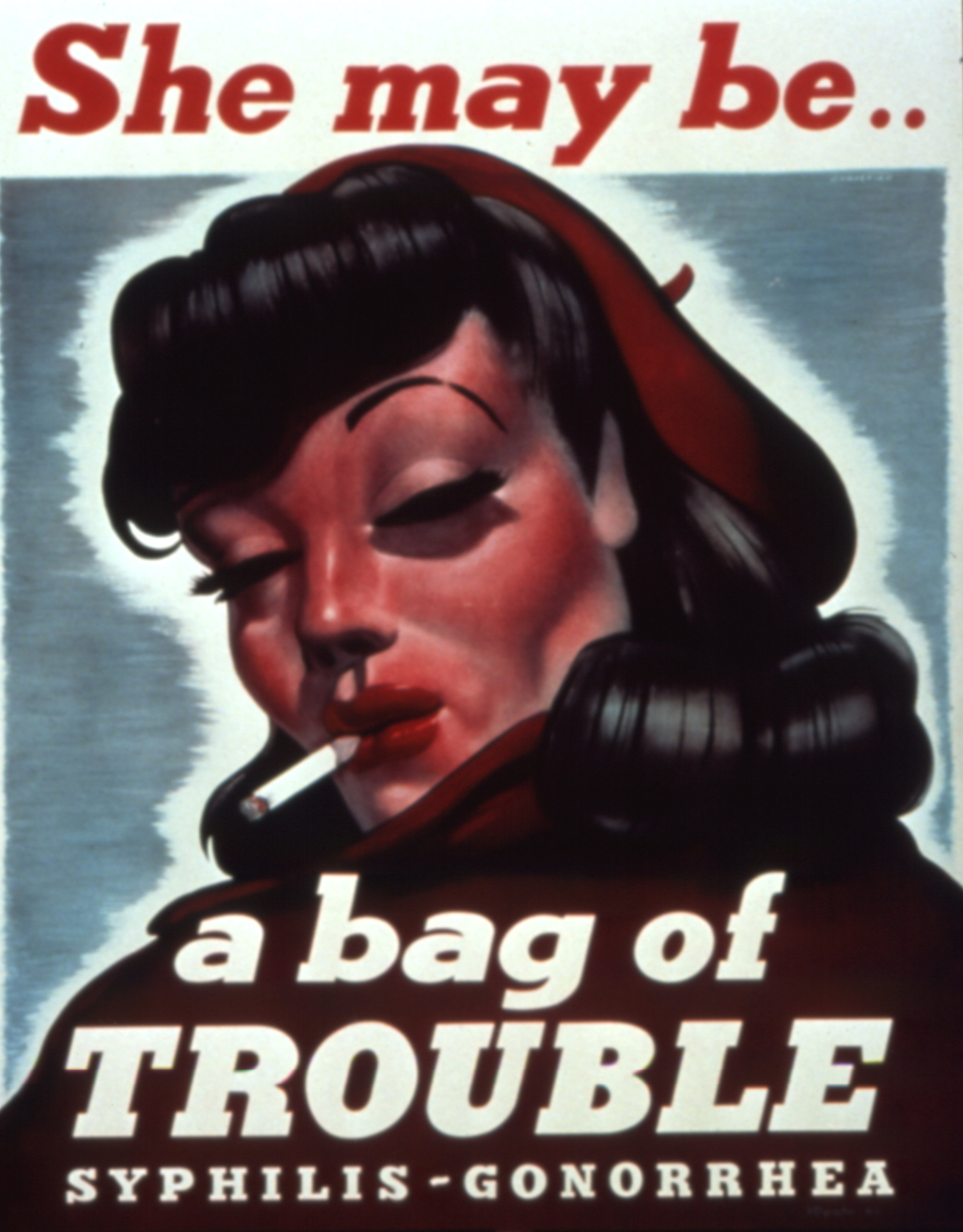 """American Propaganda Poster, Creator Unknown, """"She May Be a Bag of Trouble,"""" 1940s"""
