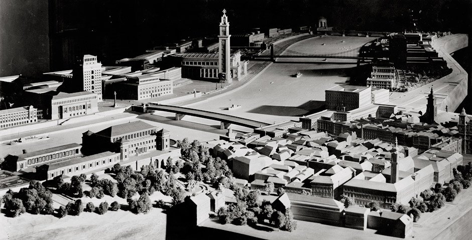 An architectural model of Linz and the Fuhrermuseum, among other buildings
