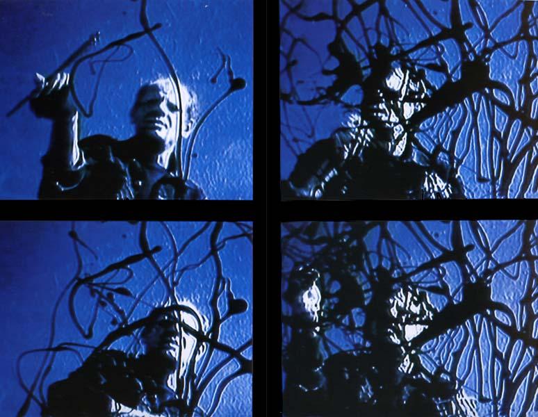 Jackson Pollock painting on panes of glass, Hans Namuth documentary stills, 1950.