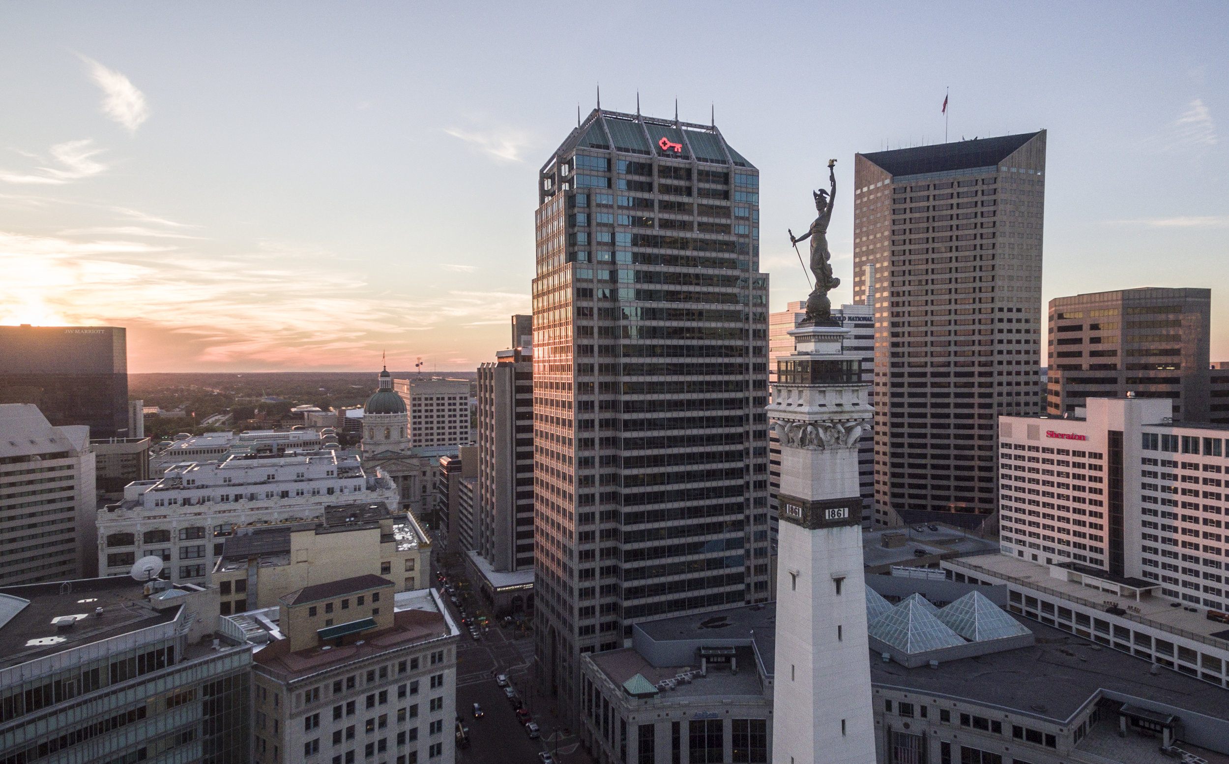 Monument Circle Indianapolis - Aerial Photography
