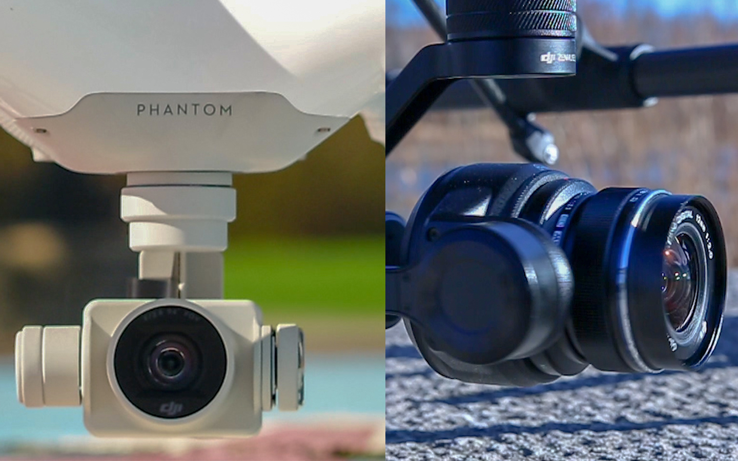 ==> Featured Phantom 4 (Left)      ==> Featured X5S Camera for the DJI Inspire 2 (Right)      ==> Featured Olympus 12mm Micro 4/3s Lens