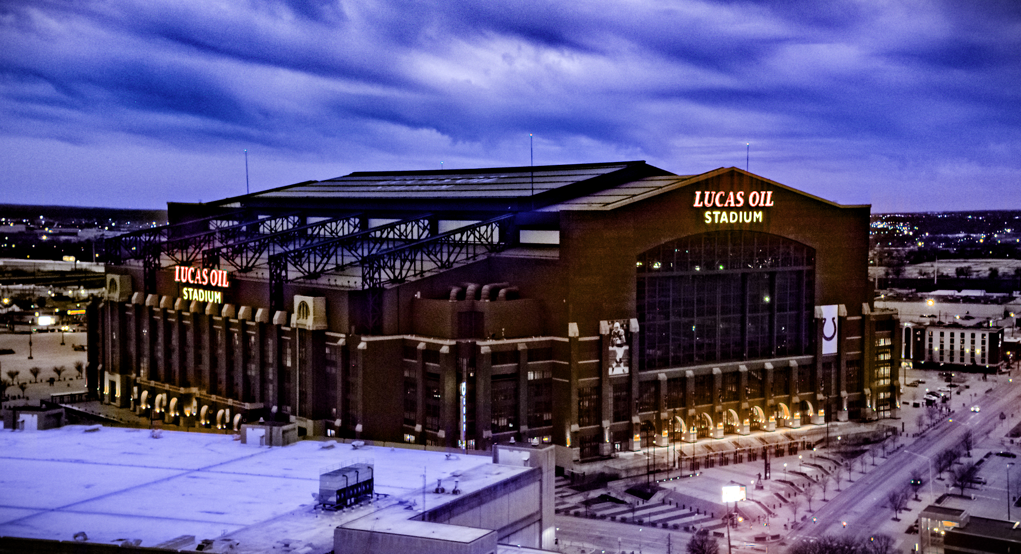 Lucas Oil Stadium at Dusk | 317 Aerials
