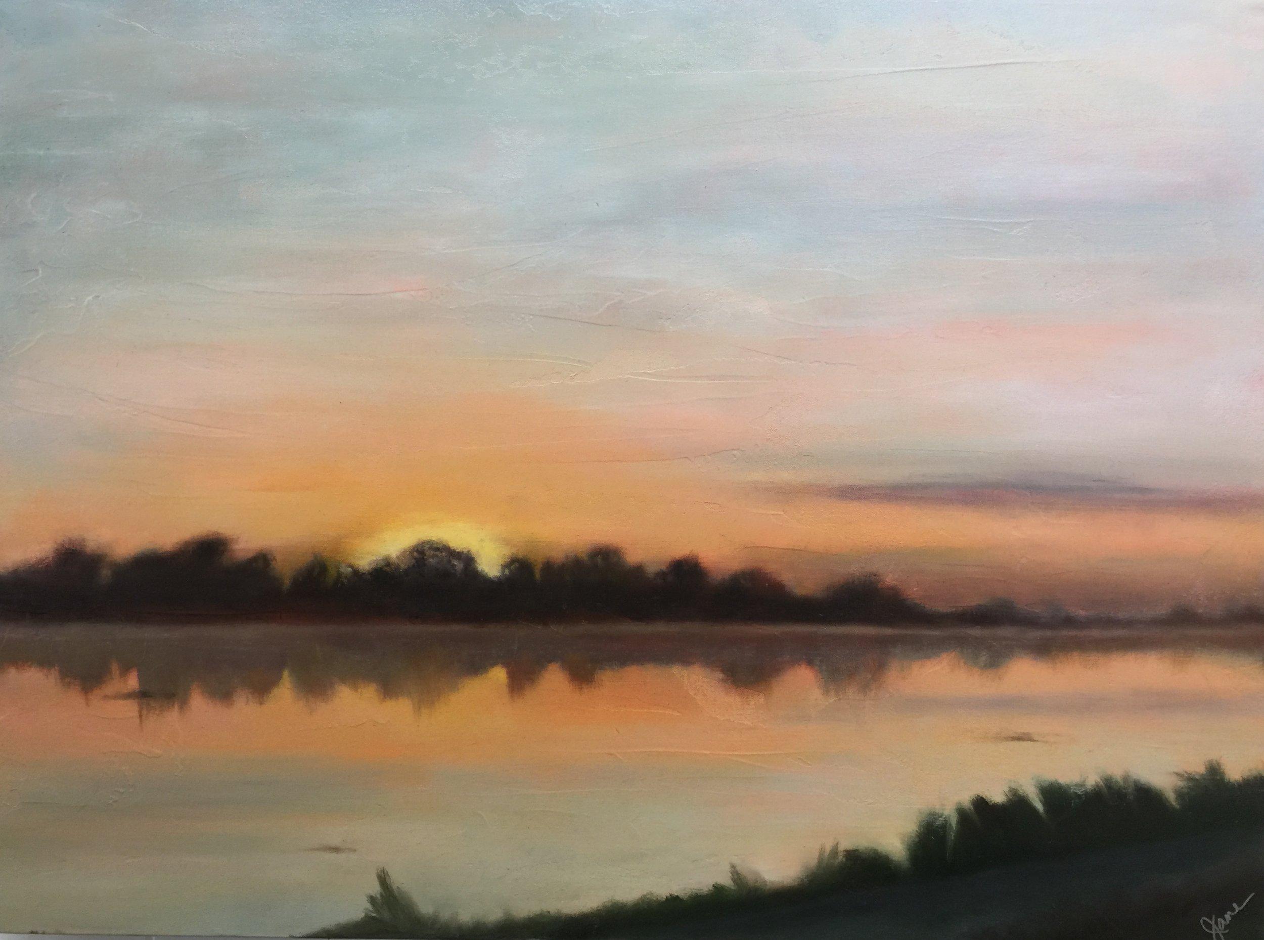 Sunrise on LSU lake 30x40.jpg