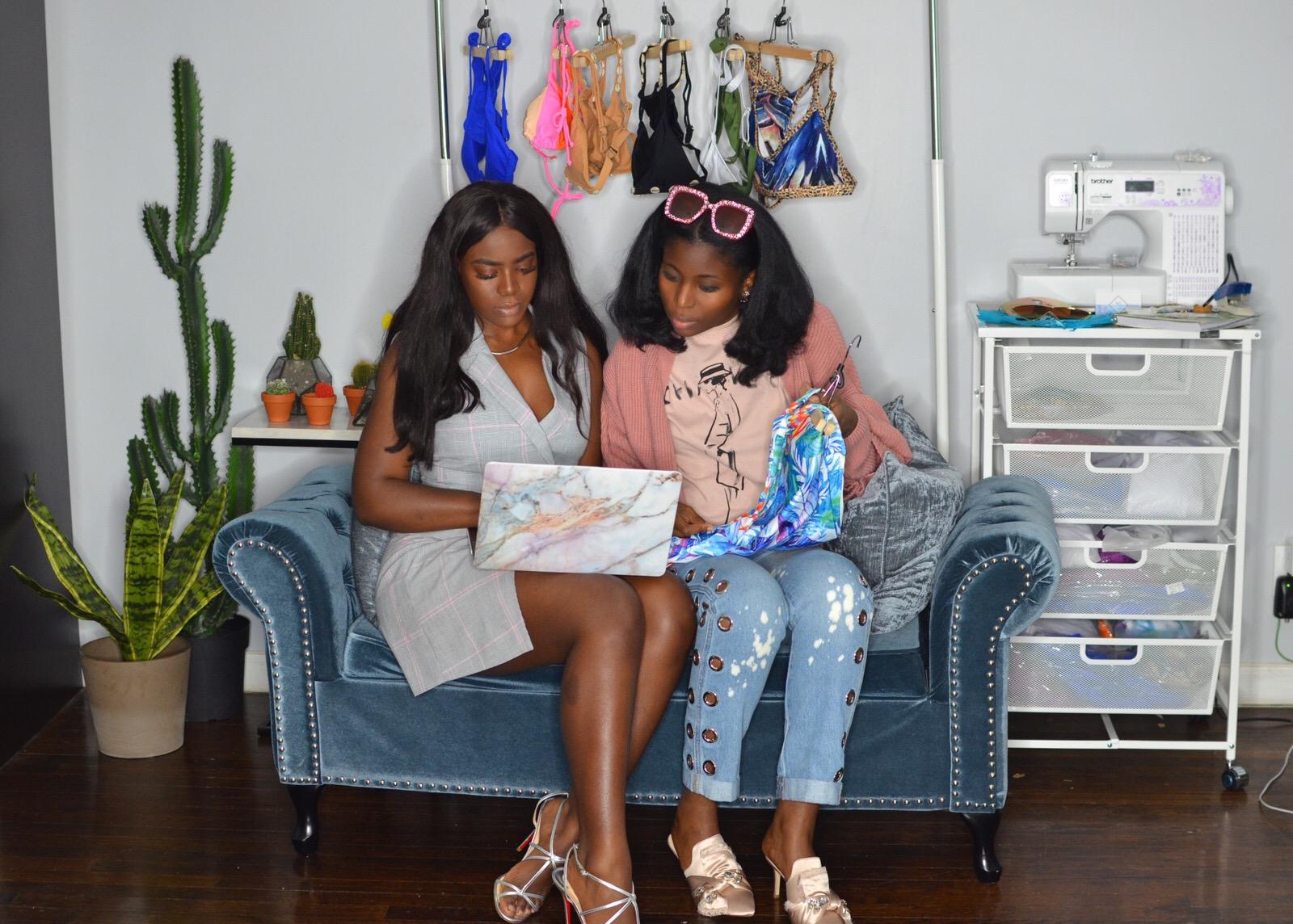 Founder, Quiara Clark (left) and Marketing Director, Estee Page (right) at the Bare Babe Swim office in Brooklyn.
