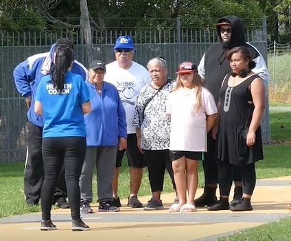 Mangere Health Centre Health Coach Renee Henry spends time with her regular walking group.