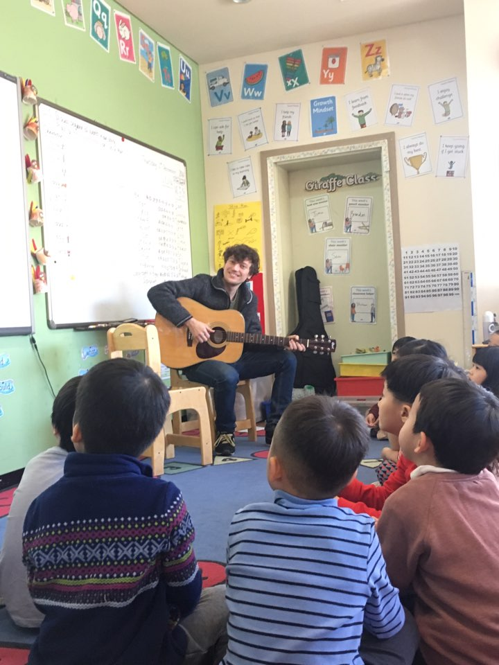 Singing songs with Kindergarten students at BIK International school in Seoul.