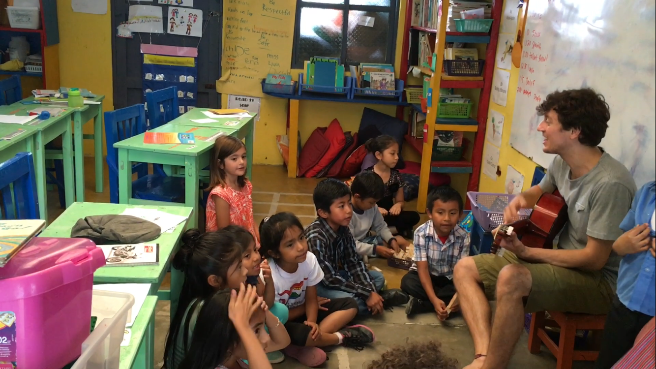 Singing with the first grade students at Robert Muller Life School, Guatemala