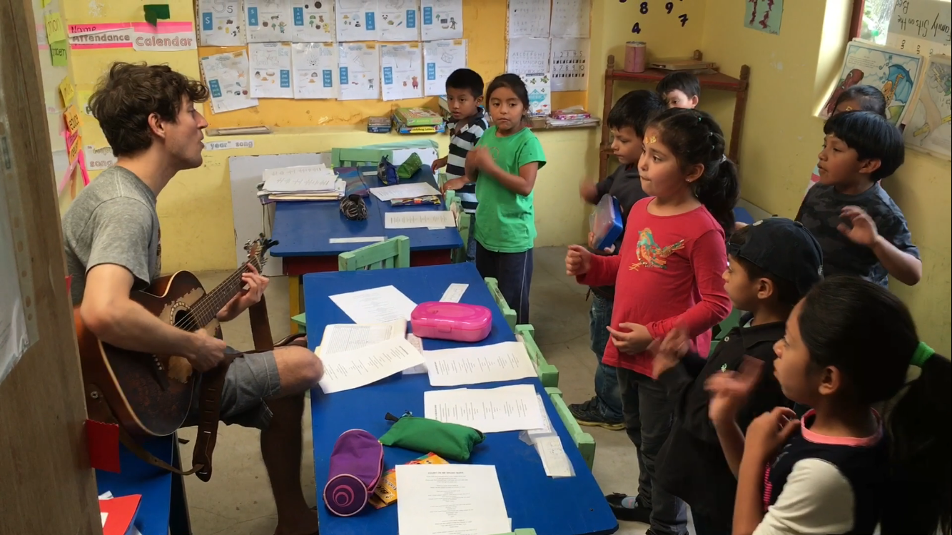 Teaching English sing-alongs to the Kindergarteners at Robert Muller Life School, Guatemala