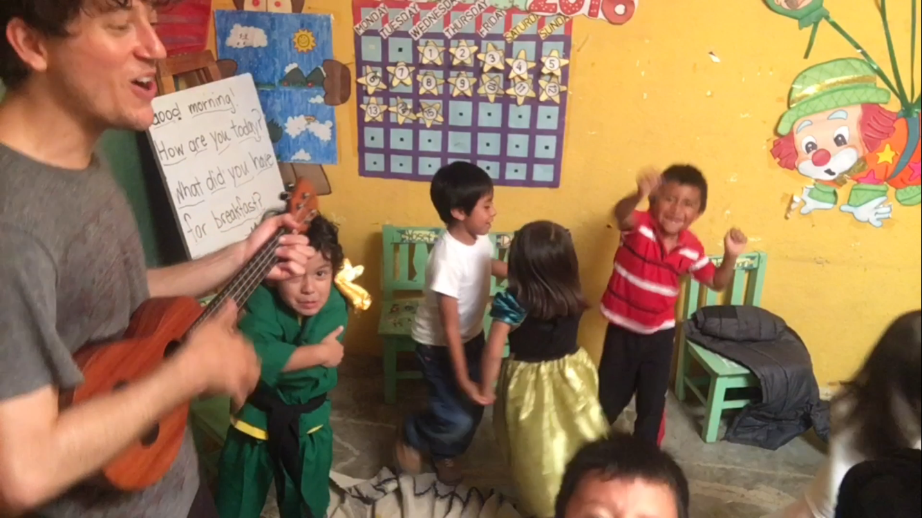 Playing fun and educational musical games with the enthusiastic Pre-Schoolers at Robert Muller Life School, Guatemala