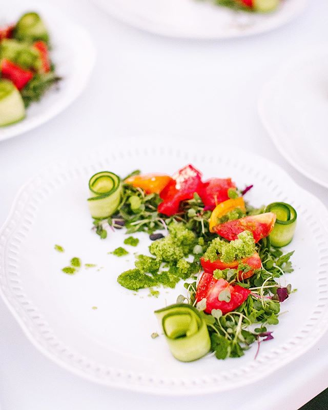 Executive Chef Jeff Thurston really upped the ante with this gorgeous heirloom tomato salad which features refreshingly cold basil-pepino granita in lieu of a standard dressing. #attheh #catering #lovebonappetit