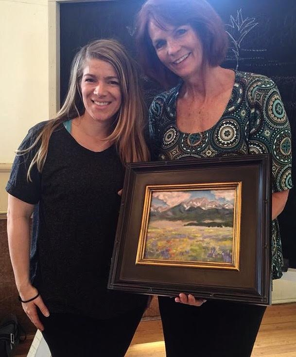 "With student, Amy Voll, and her ""first ever"" oil painting"