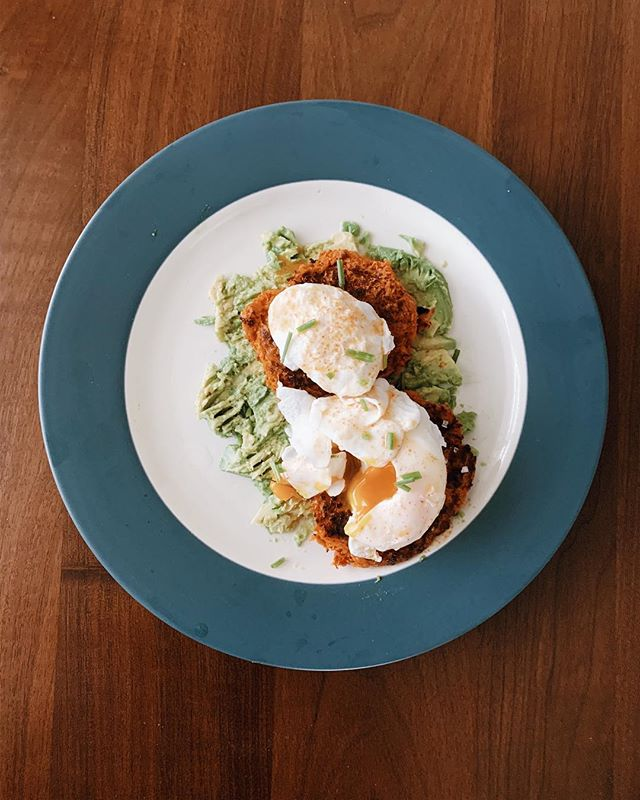 Starting the morning with some paleo eggs Benedict from @primal_gourmet The recipe was delish and @trevorhawley nailed the poached eggs on his first attempt.