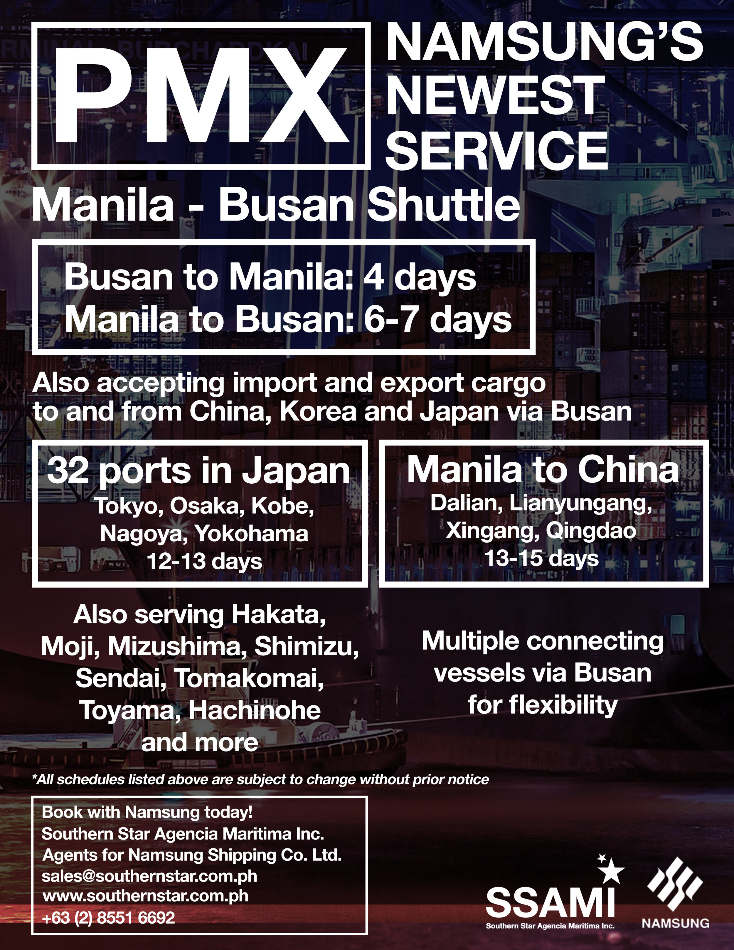 Announcing: PMX Service - Namsung's newest Manila - Busan shuttle service.Inquire and book today.