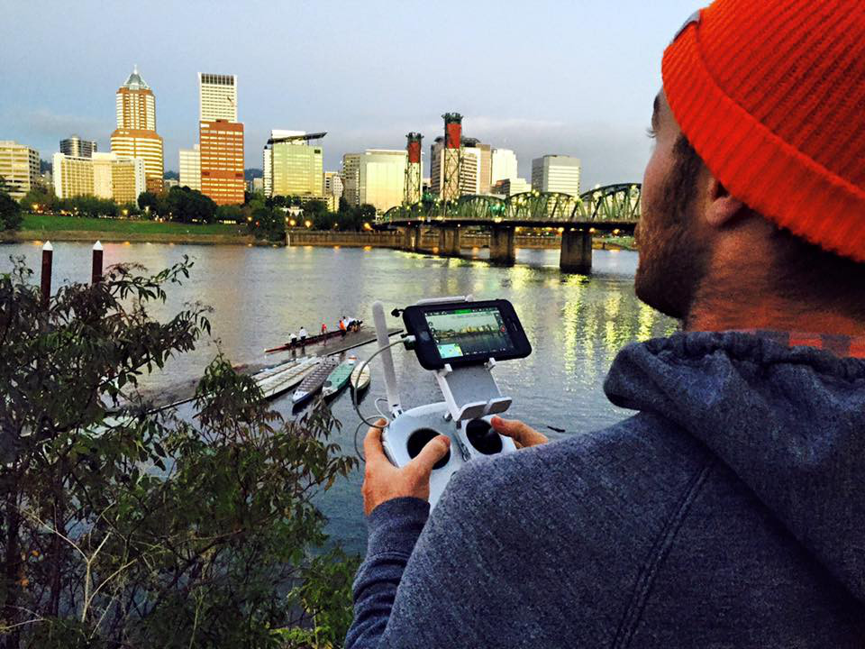 Travis Howe operating the drone