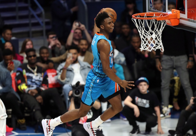 OKC Rookie Guard Hamidou Diallo soars through the air to compete a windmill dunk at the slam-dunk competition. (AP Photo/ Bleacher Report.