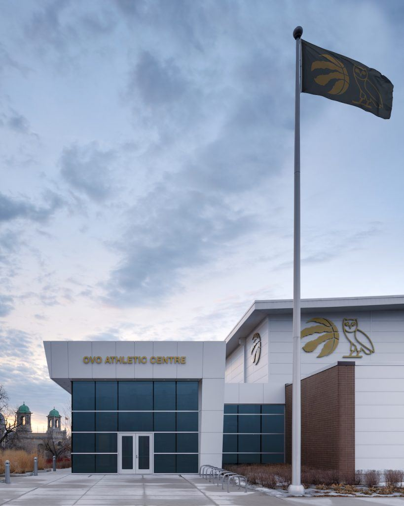 "Toronto Raptors training facility is called the ""OVO Athletic Centre"". Toronto Rapper Drake and the Raptors have a lasting partnership that stemmed from 2013. (Photo by: MLSE)"