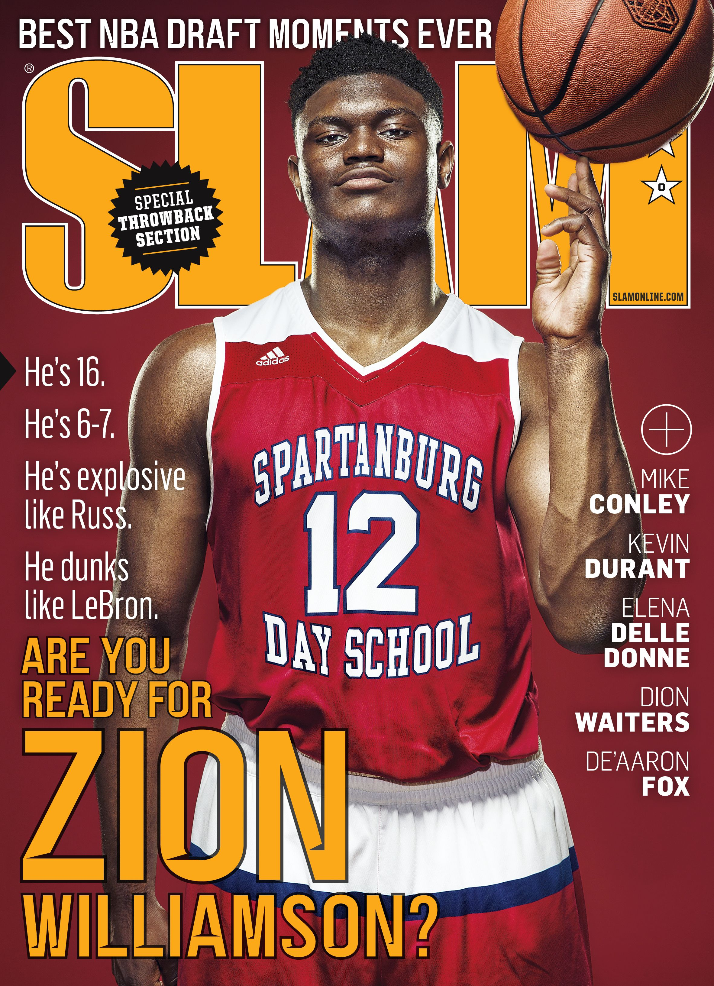 Zion Williamson graces the cover of Slam Magazine in his Senior year of HS. This was the beginning of the viral era (Photo by: Slam HS)