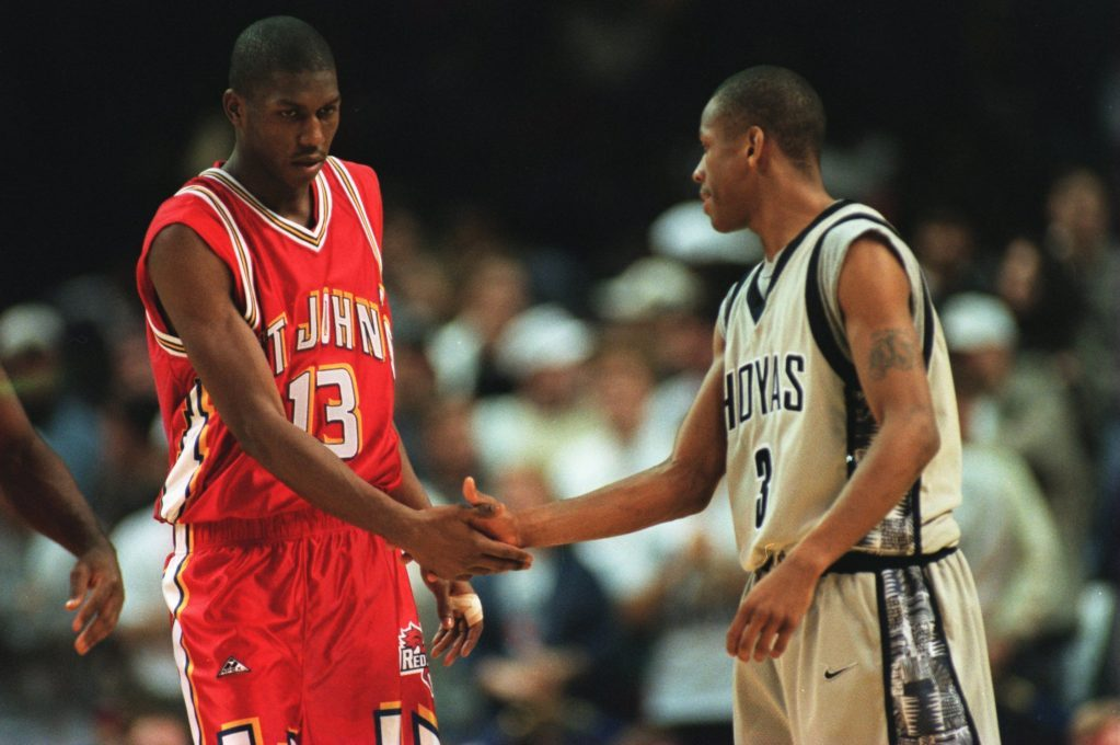 Felipe Lopez goes head-to-head with Allen Iverson in the Big East Tournament. (Photo by:Getty Images)