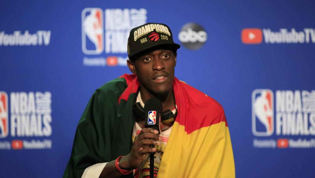 Toronto Raptors Forward Pascal Siakam at the NBA Finals press conference after the game 6 victory (Photo by:NBA).