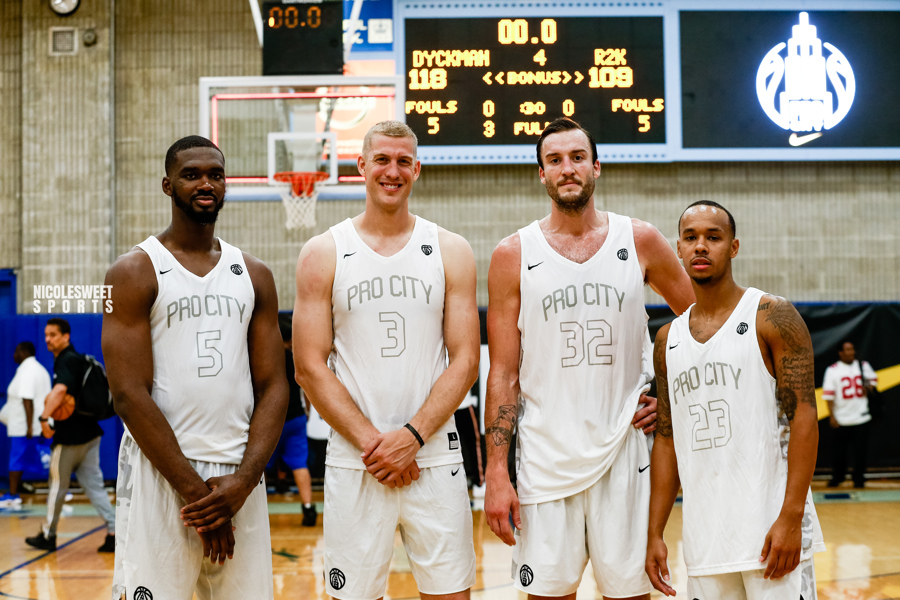 NBA athletes graced the hardwood this summer at Pro-City NYC:  Noah Vonleh, Marshall Plumlee, Miles Plumlee, Shabazz Napier (photo by: @nicolesweetsports)